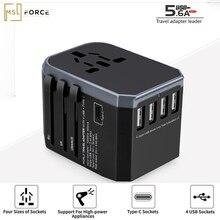 Pd 18w universal internacional adaptador de viagem 4 portas usb carregador parede tomada elétrica soquetes conversor ue eua uk au plug