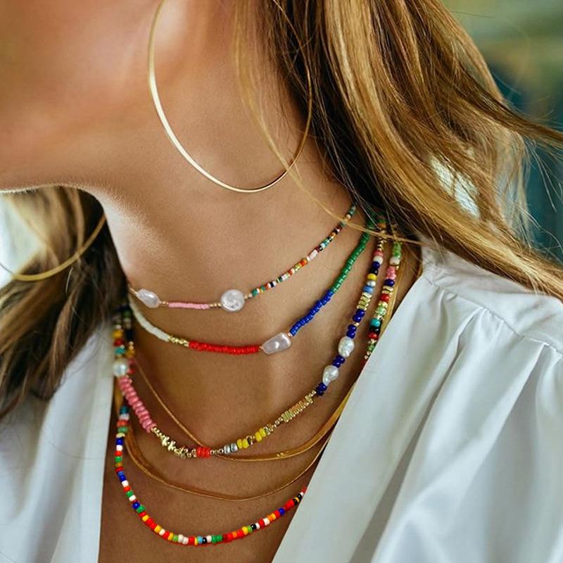Boho Handmade Small Seed Beads Miyuki Chocker Necklace Bohemian Women Pearl/Starfish Short Neckless For Women Goth Jewelry Femme(China)