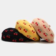 Beanies-Hat Beret-Cap Fruit Painter Print Faux-Wool Newsboy British-Style Vintage Women