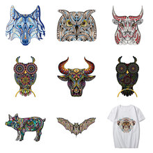 Colorful Animals Patch Heat Transfer Iron on Pig Owl Patches for Clothing DIY Kids T-shirt Badges Stickers Applique Clothes