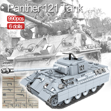990 قطعة Panther 121 اللبنات WW2 دبابة عسكرية النمر 131 الطوب مجموعة نماذج متوافقة الجنود الاطفال لعب الأطفال هدية