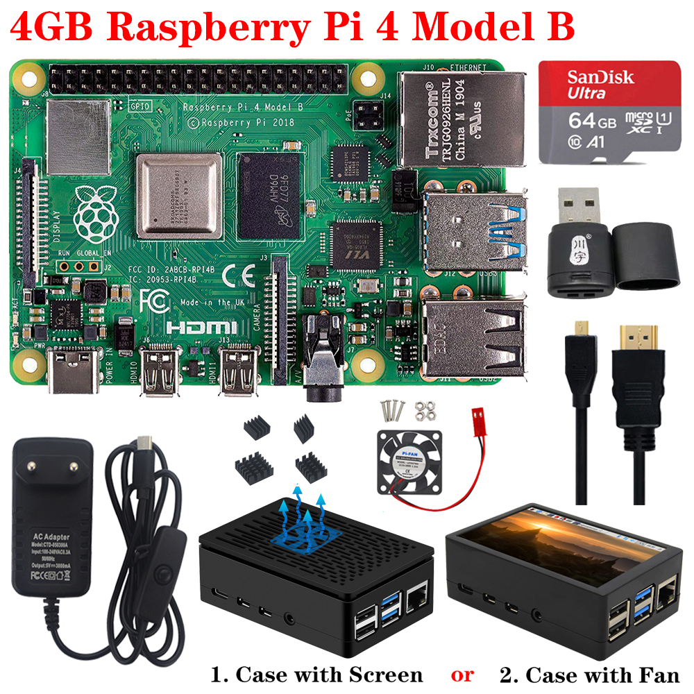Original Raspberry Pi 4 Model B Kit+ABS Case+Fan Or 3.5 Inch Touch Screen+3A Type-C Power Supply+Heat Sink For Raspberry Pi 4 4B