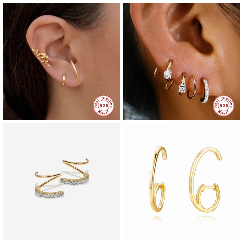 925 Sterling Silver Fine Jewelry Personalized Piercing Pendientes for Couples Lovers' Valentine's Day Puncture Stud Earrings
