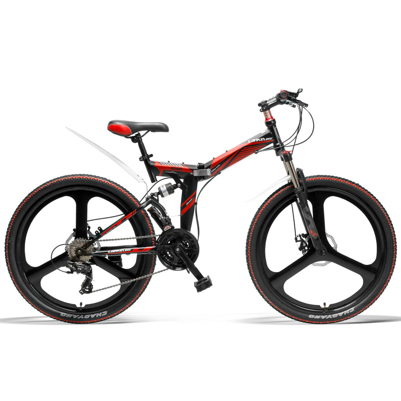 K660 Fast Folding Bicycle, 26 Inch Mountain Bike, Top Brand Transmission, Front & Rear Suspension, Folding Pedal image