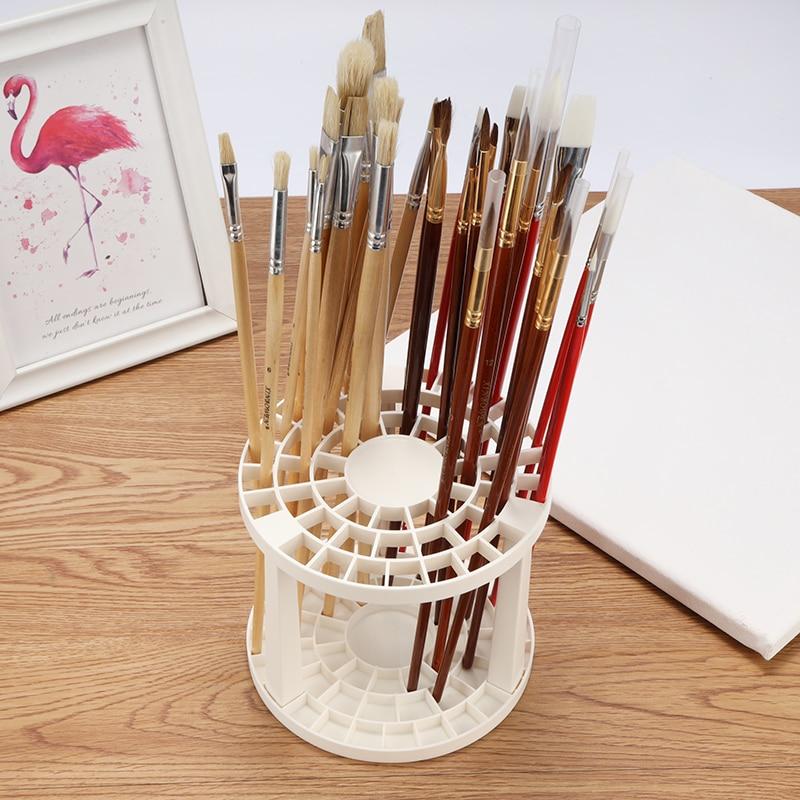 Portable 49 Holes Paint Brush Pen Holder Watercolor Painting Brush Pen Holder Pen Rack Display Stand Support Holder