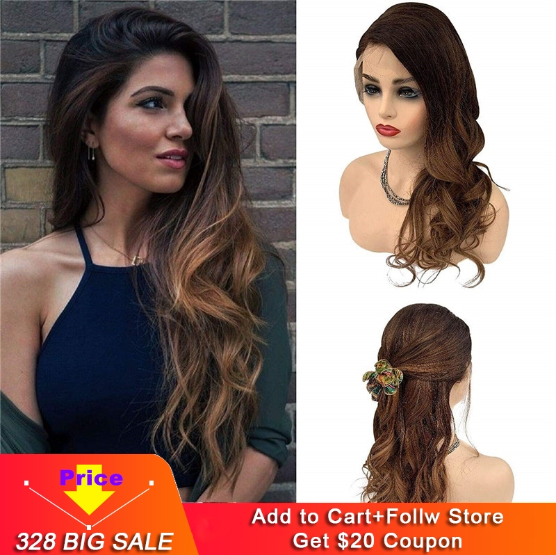 Human Hair Natural Wave Wig Lace Front Wigs 1b Black To Medium Brown Omber Wig For Women  Balayage Wavy Wigs 150% Density #1b/4A