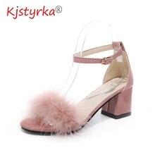 Wedding Sandals High-Heels Fluffy Stilettos Shoes Woman Nude Peep-Toe Summer Lady 40