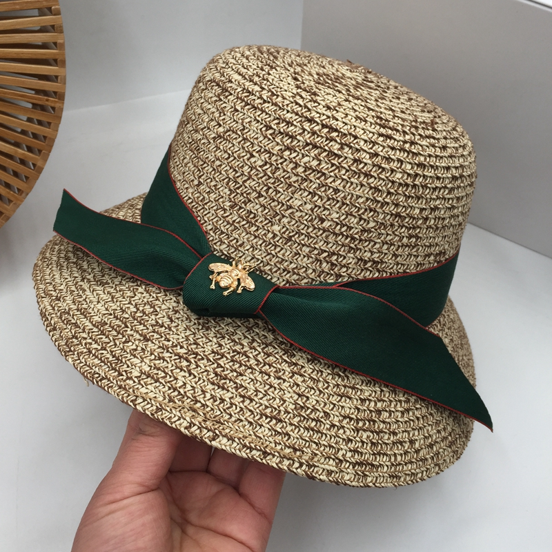 Spring, Summer, Hepburn Wind Straw Fisherman Hat Bowknot Joker Hat Fashion Female Holiday Beach Sun Hat