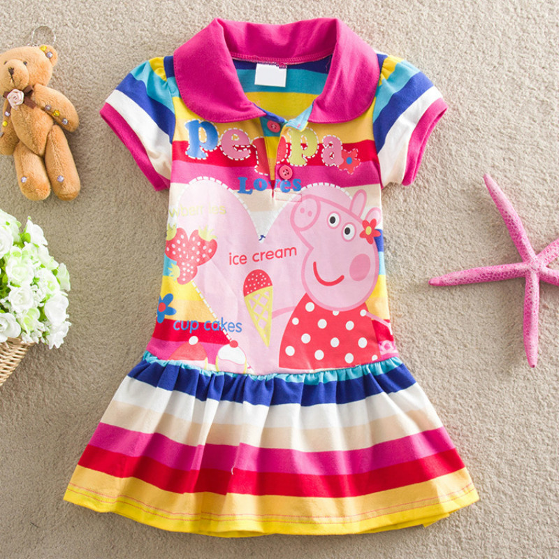 Peppa Pig Girls Summer Skirts Short Sleeve Dress Plush Cotton Girl Print Cute Cartoon Striped Dress Lantern Skirt Toys