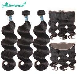 Paquetes de pelo de onda del cuerpo peruano de Asteria con cierre Frontal predesplumado 3 paquetes de cabello peruano con Remy Frontal pelo