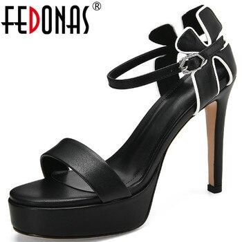 FEDONAS 2020 Summer Newest Platforms Women Sandals Genuine Leather High Heels Pumps Metal Buckle Wedding Basic Shoes Woman
