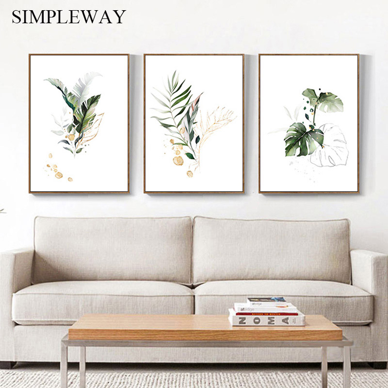 Watercolor Plant Canvas Poster Leaf Botanical Art Print Minimalist Painting Nordic Style Picture Modern Living Room Decoration