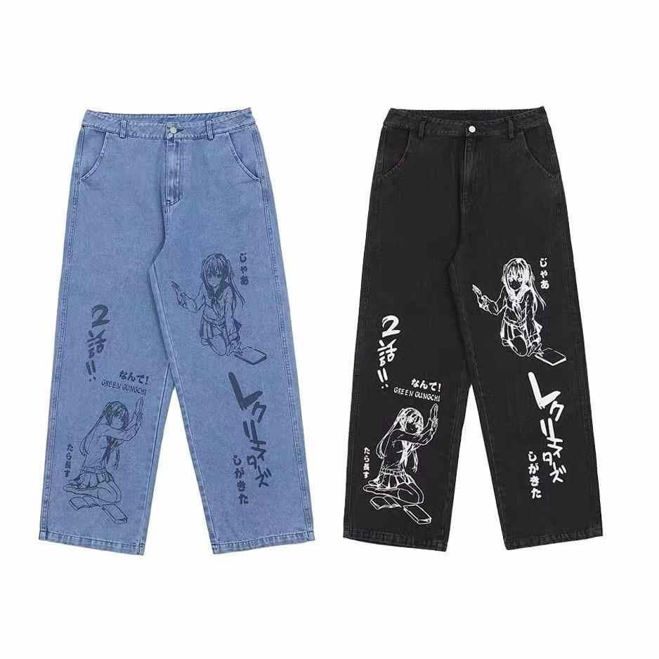 Pantalones Haren Japoneses De Hip Hop Para Hombre Y Mujer Ropa De Calle Con Estampado De Dibujos Animados De Anime Pantalones Harajuku De Gran Tamano Para Correr Vaqueros 2020 Pantalones Vaqueros Aliexpress