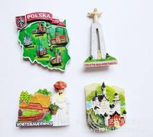 Adesivo de ímã de geladeira de resina, souvenir alemanha, castelo do cisne, polonesa, shenam, wat, decoração de casa, frigorífico, geladeira, magnética