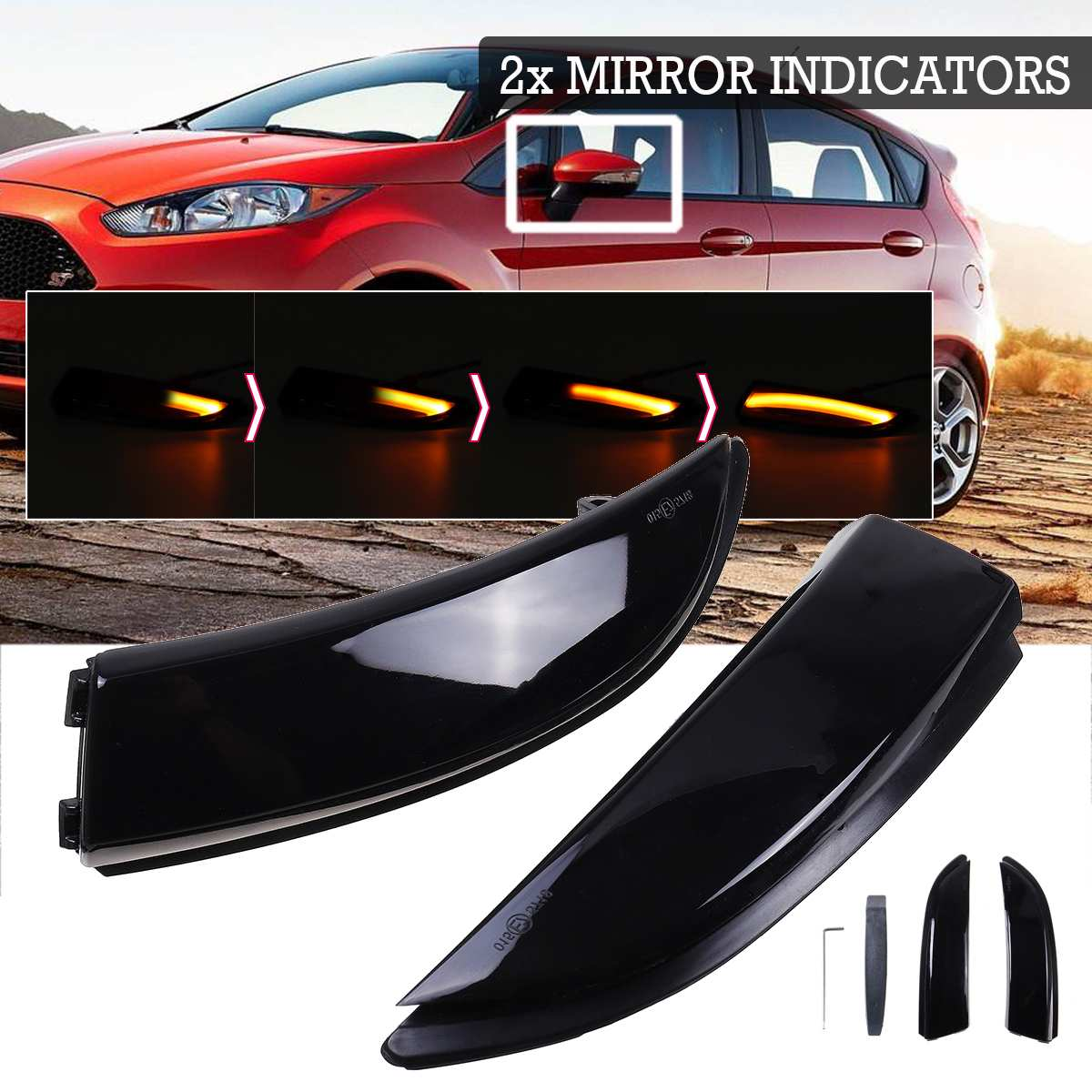 2pcs Flowing Turn Signal Light LED Side Wing Rearview Mirror Dynamic Indicator Blinker Repeater Light For Ford For Fiesta 08-17