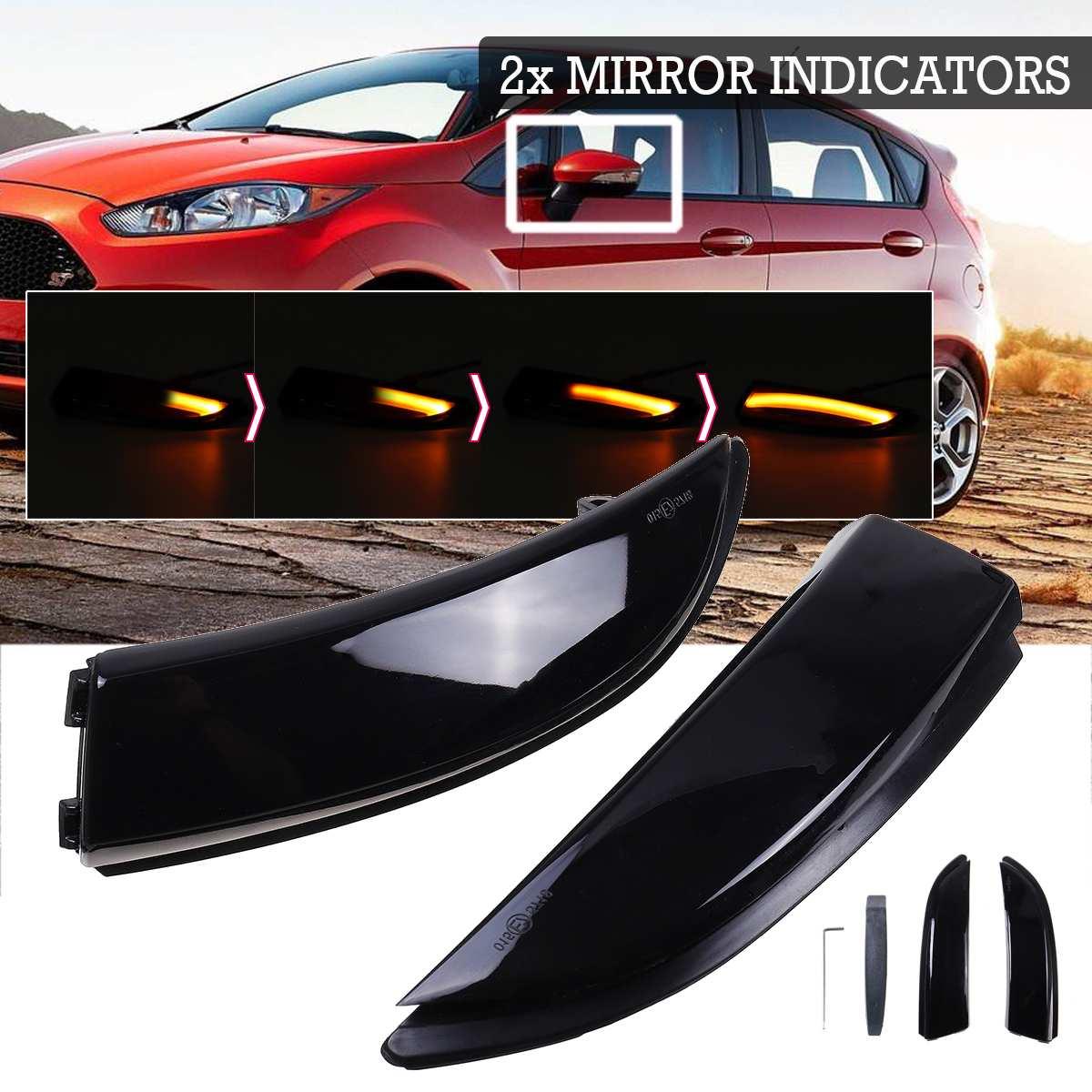 2X струящийся светильник светодиодный с поворотным сигналом, боковое крыло, зеркало заднего вида, динамический индикатор, мигалка для Ford Fiesta...