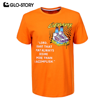 GLO-STORY 2020 New Summer Fashion Shoes Letter Print Men 100% Cotton T-Shirts Short Sleeve O-Neck Streetwear Male Tops MPO-0242