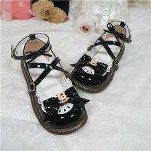 Lolita-Shoes Cross-Buckle School-Uniform Cosplay Japanese Kawaii Anime Jk Princess Hobbyhorse-Bow