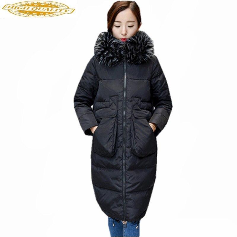 Maxi Size 6XL Womens White Duck Down Jackets Raccoon Fur Collar Long Parka Winter Jacket Women Thick Coat Casaco WXF499