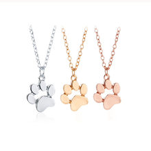 Fashion Cute Pets Dogs Footprints Paw Chain Pendant Necklace Necklaces & Pendants Jewelry for Women Sweater necklace s3(China)