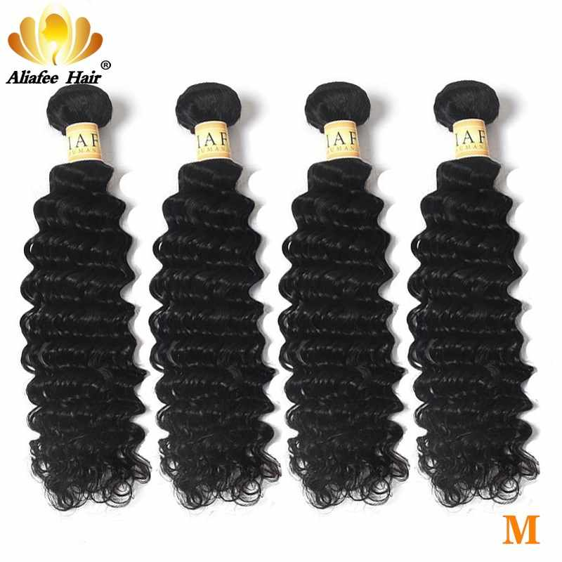 "Aliafee Hair Brazilizn Deep Wave Bundles Hair 4 Bundles Deal Remy Hair 100% Human Hair Extension Natural Color 8""-30"" Inch"