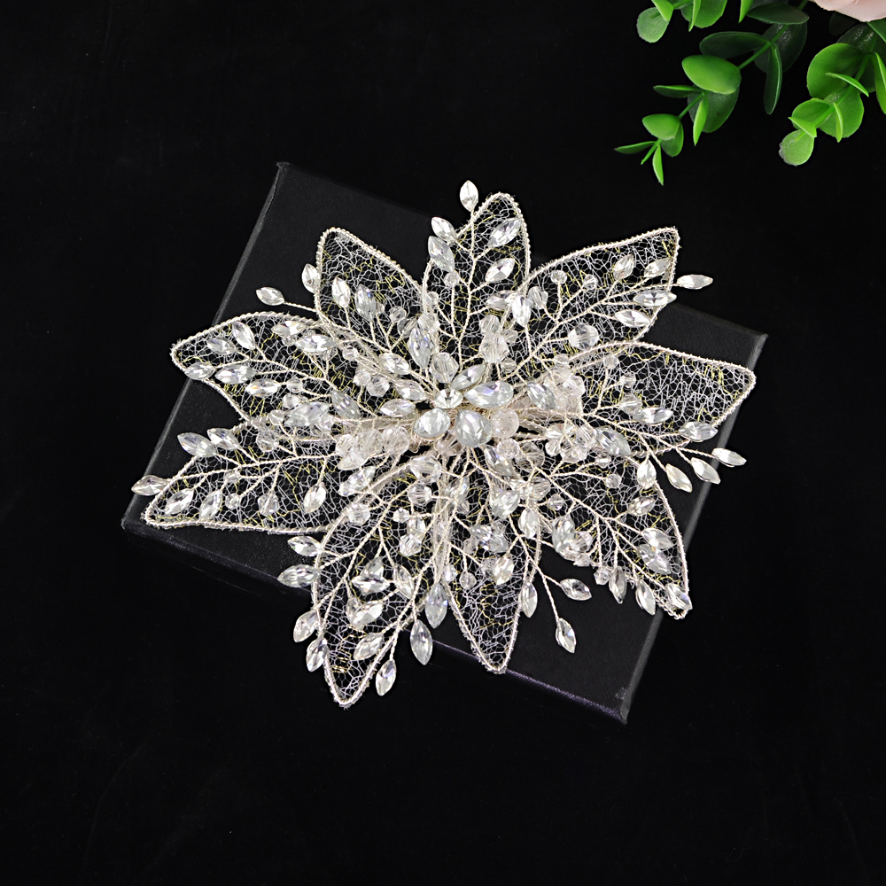 TRiXY H217 Elegant Rhinestone headpiece Fashion Crystal Flower Headdress Wedding Jewelry Bridal Hair Pin Wedding Hair Accessory