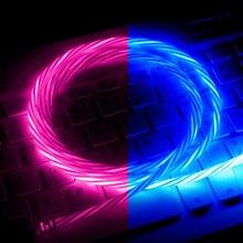 Hotest luminoso cabo led brilho fluindo micro usb tipo c cabo de carregamento rápido para o telefone android brilhante carregador cabo para huawei