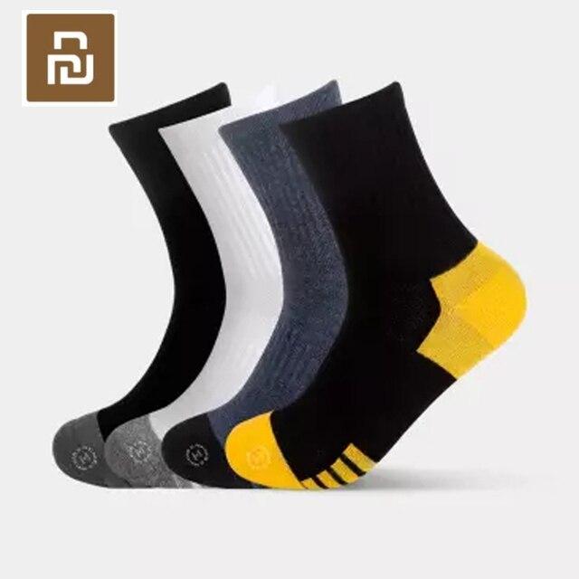 Youpin Socks Seven side antibacterial combed cotton medium tube mens socks white and gray 4 pairs average size Socks