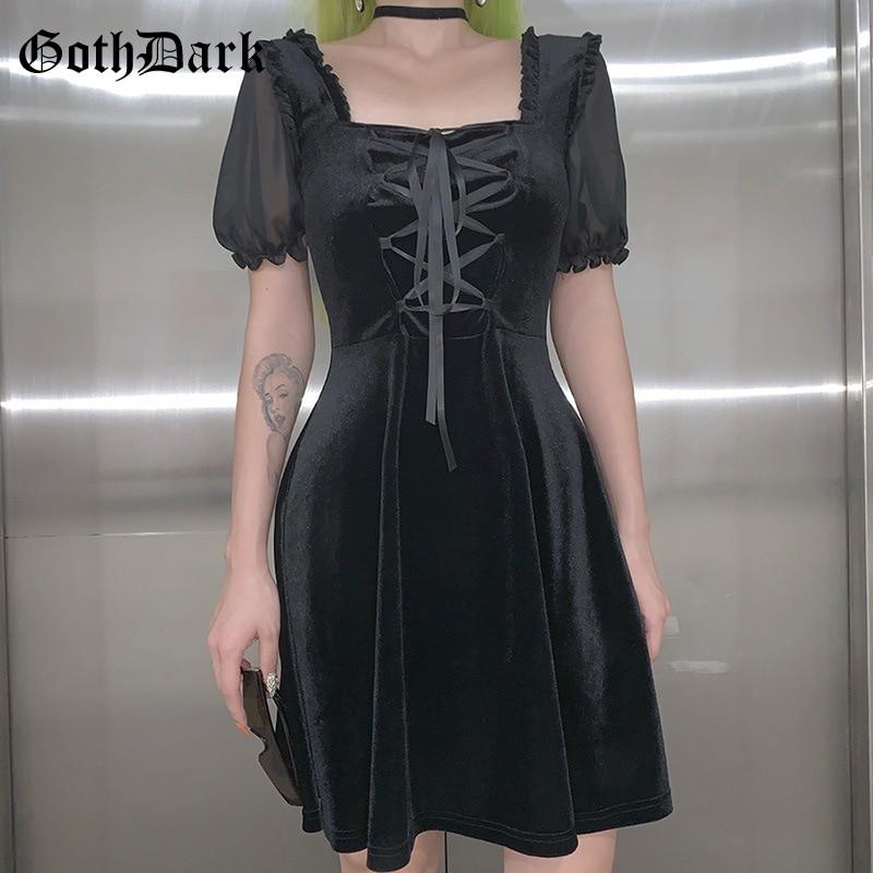 Goth koyu Vintage Punk gotik elbiseler kadın Harajuku zarif sonbahar 2019 bandaj puf kollu estetik elbise pileli şeffaf