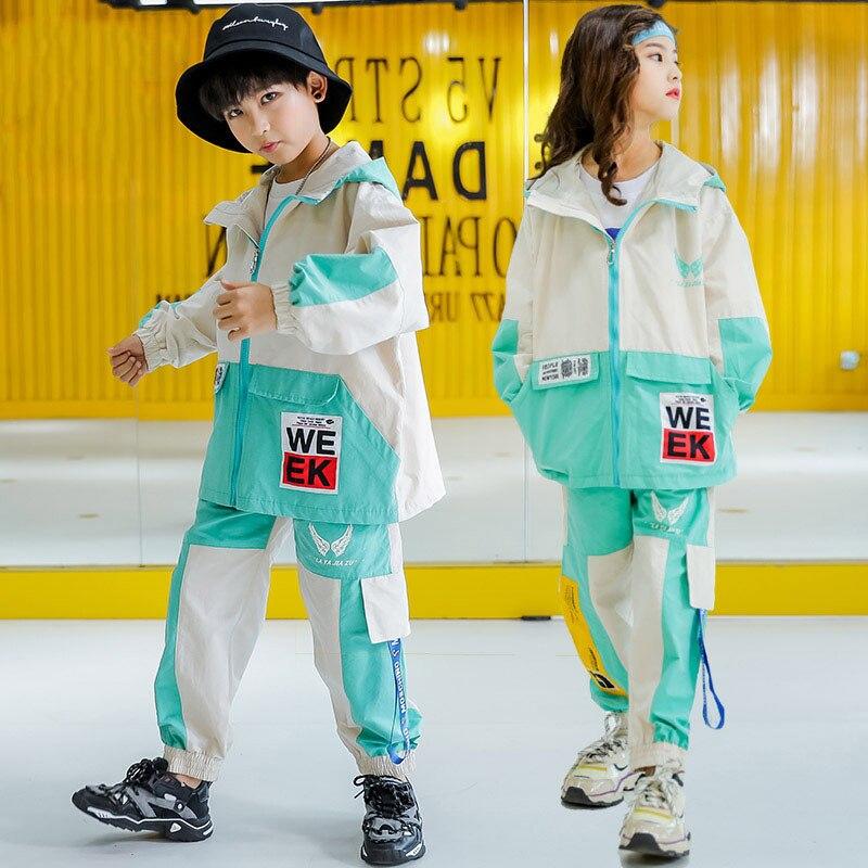 New Hip Hop Kid Winter Costume Long Sleeves Coat Pants Suit Loose Street Wear Drumming Performance Outfit Hip Hop Costume VDB941