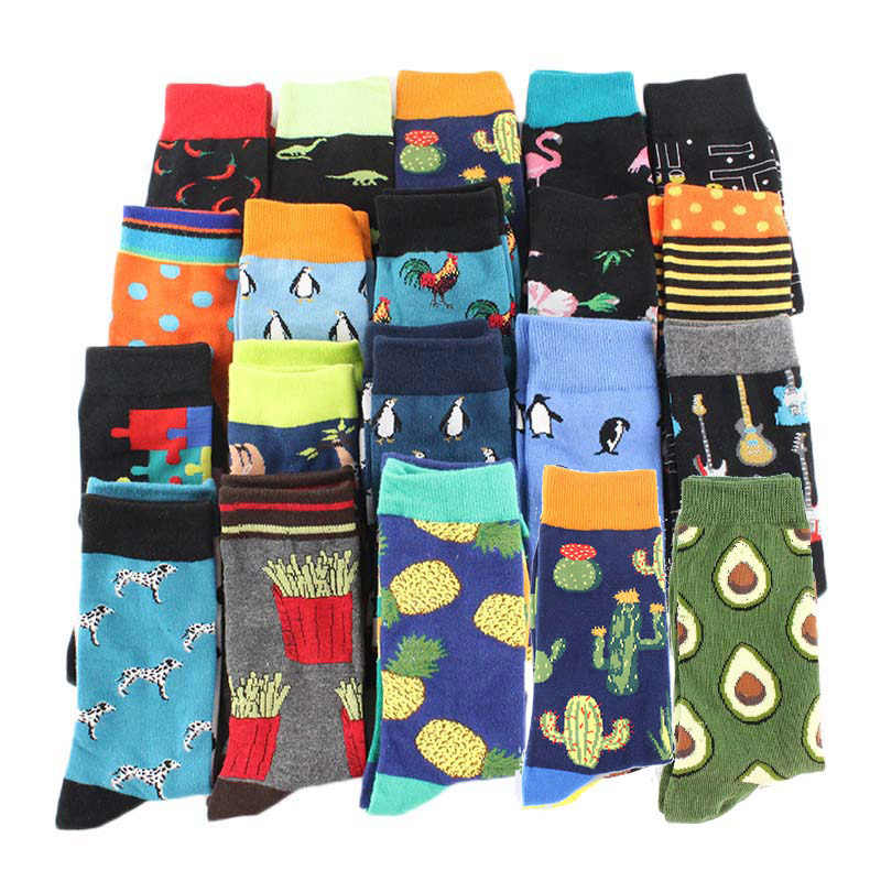 Snack pattern Harajuku happy socks men's funny combed cotton dress casual wedding socks colorful novelty skateboard socks women