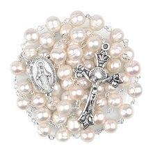 Pérola de água doce natural 8mm grânulos virgem católica maria rosários feminino corrente rosário