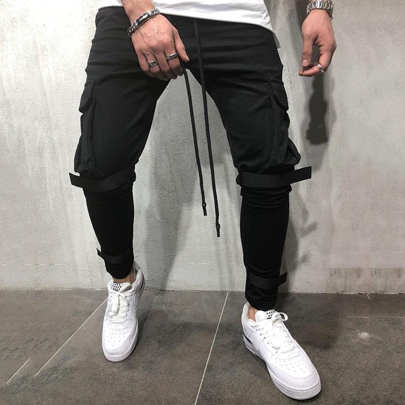 Men Casual Sports Pants 2019 New Fashion Men's Jeans Long Cargo Pants Work Casual Trousers Jeans Retro Solid Color Slim Hot Sale