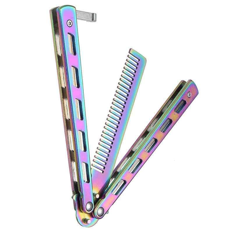 Радужная Складная расческа из нержавеющей стали, тренировочный нож-бабочка, расческа для бороды и щетки для усов, инструмент для укладки парикмахерских