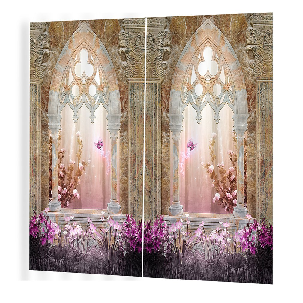 BJQ-1280(4)js150*166cm Trendy Living Room Bedroom Blackout Building Prints Curtains Room 3d Curtain Window Drapes