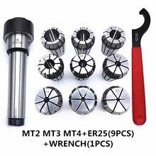 9Pcs ER25 Spring Collets Set 1PCS MT3  ER25 M10 MT3  ER25 M12 MT4 ER25 M12 Collet Chuck Morse Taper Holde and wrench