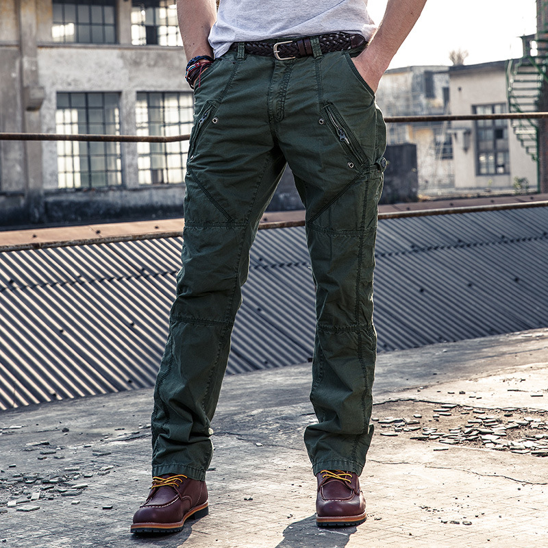 Hot Selling MEN'S Casual Pants Large Size Loose-Fit Multi-pockets MEN'S Overalls Pure Cotton Straight-leg Pants