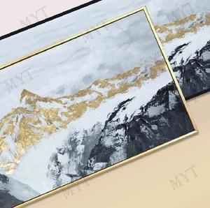 Image 2 - 2020 لوحة Cuadros لتزيين الجدران ومطبوعات 100% مرسومة باليد ، وجداريات جبلية ذهبية ، ديكور غرفة المعيشة