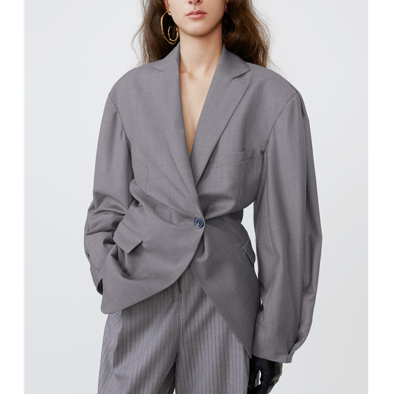 AEL Women's Casual Blazer Loose Solid Coat Single Button Long Sleeve Notched Ruched Female Suit Spring 2020 Overcoat