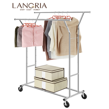 LANGRIA Portable Double Coat Rack Clothes  Rack Stainless Steel Floor Rolling Hanger With Casters for Bedroom Living Room Silver