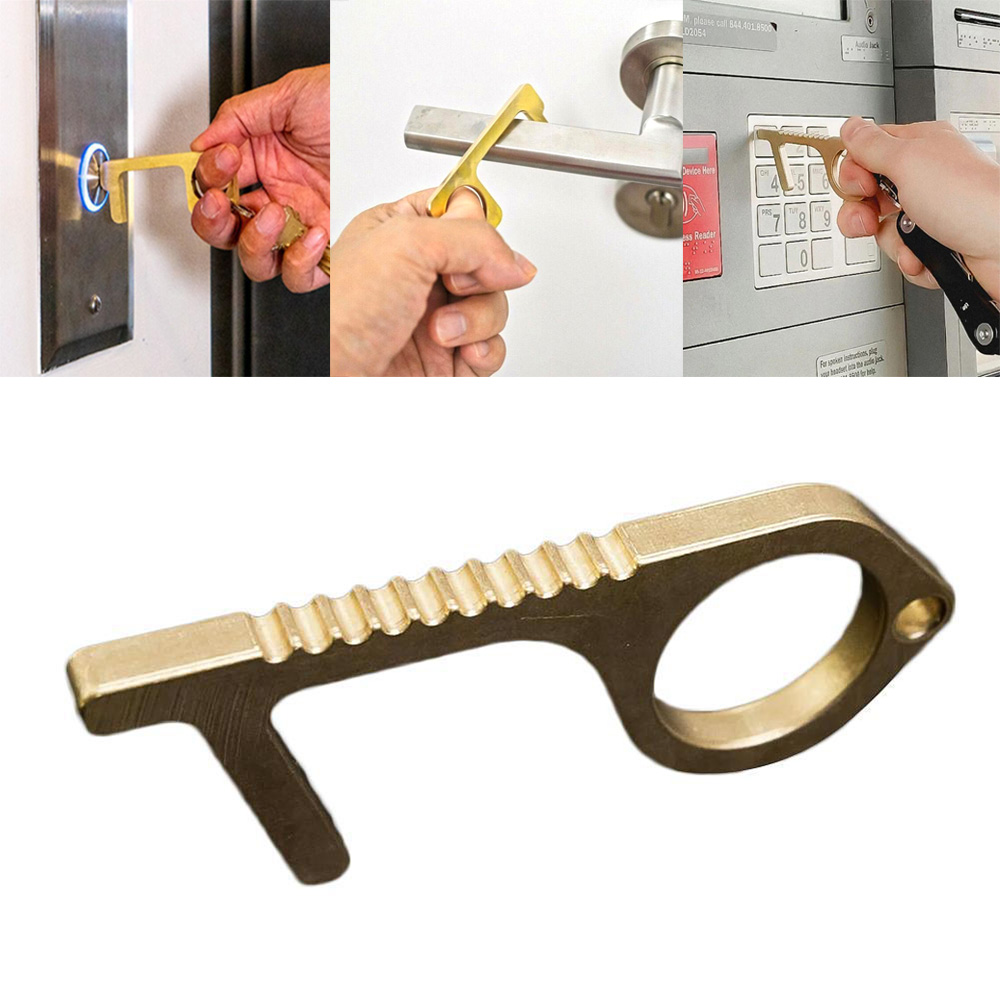 1Pcs Portable Press Elevator Tool Hygiene Hand Antimicrobial Alloy EDC Door Opener Door Handle Key Metal Portable Door Opener