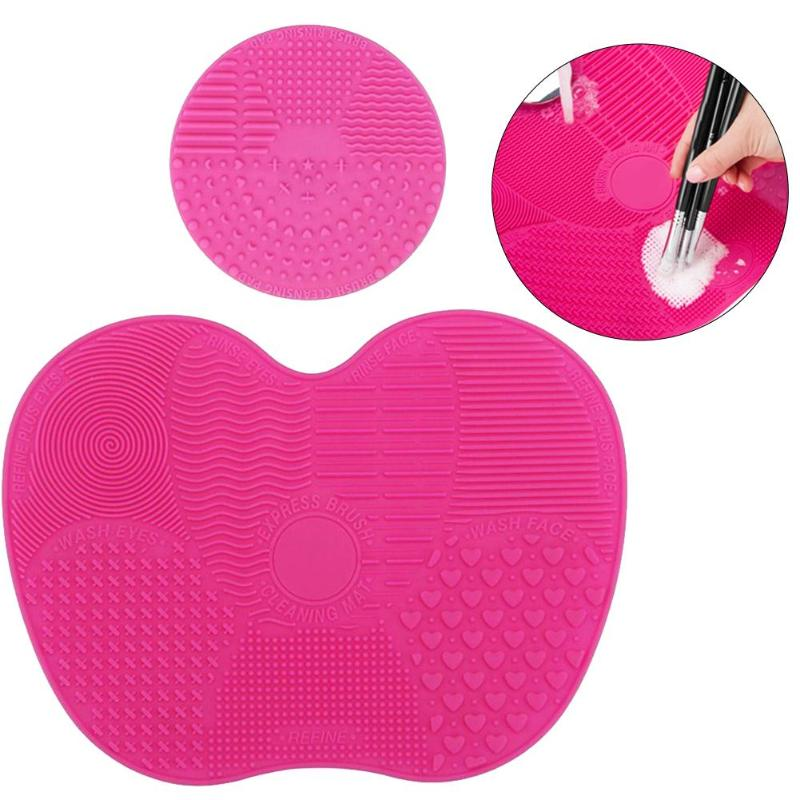 2pcs Silicone Makeup Brush Cleaner Pad Multifunctional Practical Non-Toxic Odorless Round Mini Mats And Apple Shaped Large Mats