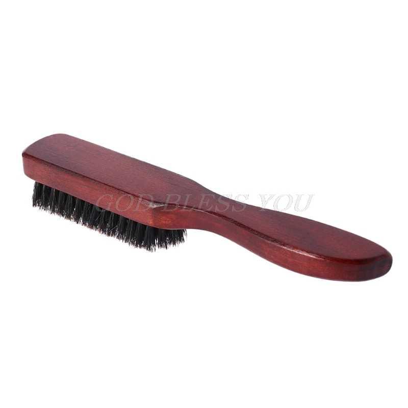 Escova de cabelo de madeira lidar com cerdas de javali barba pente estilo detangling alisamento