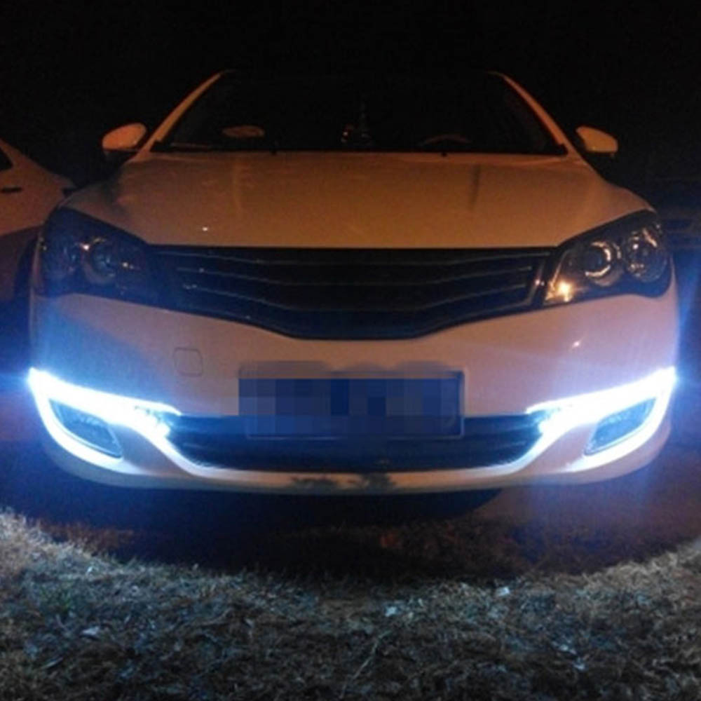 Купить с кэшбэком 1pcs Car Daytime Running Light DRL Auto Flexible LED Strip Driving Light Car Styling Daylight Fog Lamp 12V White Ice Blue