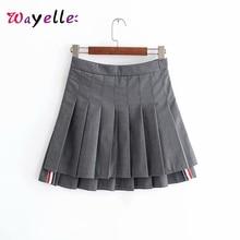 Pleated Mini Skirt 2019 Japan Style Solid High Waist Skirt Sweet Side Zipper Pleated Skirt Women Fashion Kawaii Short Skirts