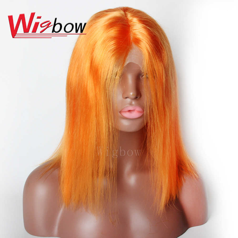 Lace Front Wigs Mongolian Hair Short Bob Straight Remy Human Hair 27 30 613# Blue Grey Green Orange Red Purple Yellow With Baby
