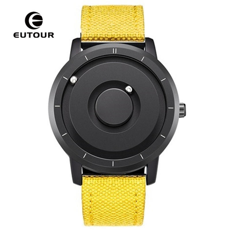 EUTOUR Men Watch Yellow Black Fashion Nylon Band Strap Reloj Magnetic Magnet Metal Multifunctional Watch Men's Quartz Watches