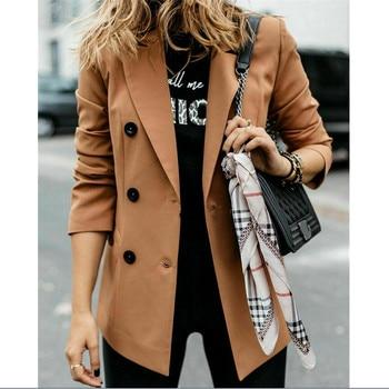 Elegant Womens Blazer Coat Slim Long Sleeve Solid Color Double Button Fashion Ladies Overcoat Trench Coat Blazer Winter Jacket