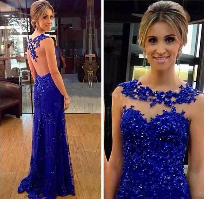 Royal Blue Sexy Mermaid Evening Dresses 2020 With Sequin Appliques Long Prom Dresses Party Gowns Special Occasion robe de sories