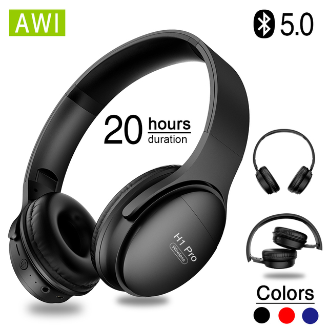 AWI H1 Pro Bluetooth Headphones Wireless Earphone Over ear Noise HiFi Stereo Canceling Gaming Headset with Mic Support TF Card